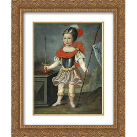 Nicolaes Maes 2x Matted 20x24 Gold Ornate Framed Art Print 'Boy in Fancy Dress as a Roman Soldier ' - Roman Dresses