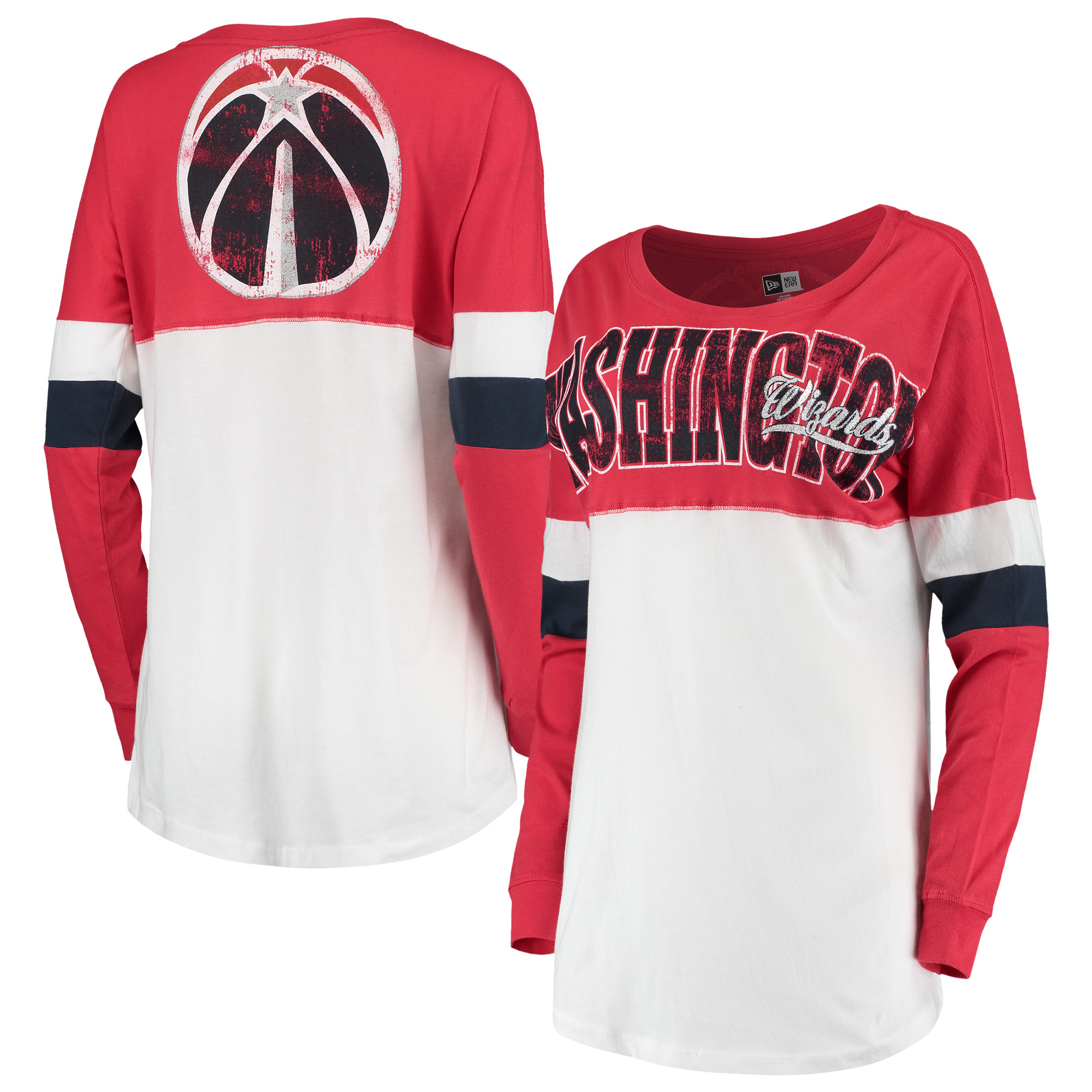 Washington Wizards New Era Women's Baby Jersey Contrast Long Sleeve Crew Neck T-Shirt - White/Red