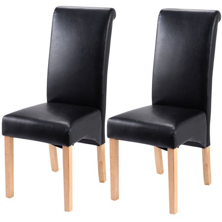 2 Black Dining Chairs - Costway Set of 2 Leather Wood Contemporary Dining Chairs Elegant Design Home Room (Black)