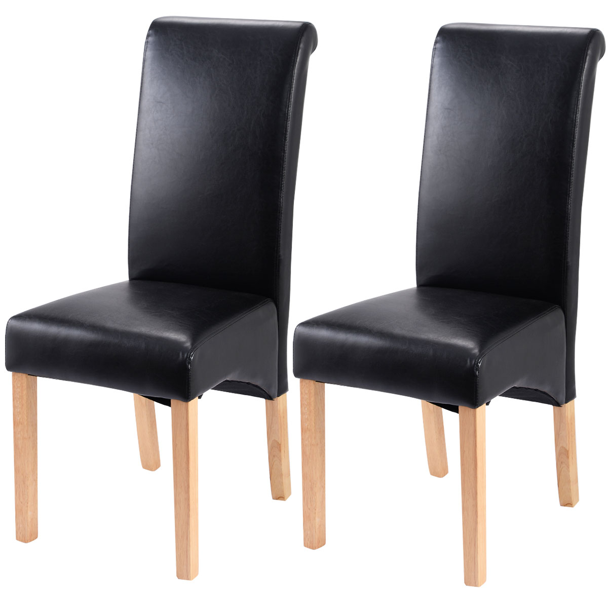 Costway Set of 2 Leather Wood Contemporary Dining Chairs Elegant Design Home Room (Black)