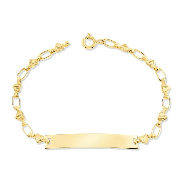 14K Yellow Gold Kids Heart ID Bracelet, 5