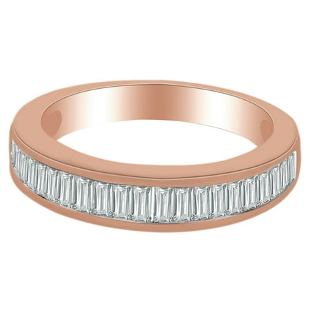 0.75 Ct Baguette Cut White Natural Diamond Anniversary Band Ring in 14k Rose