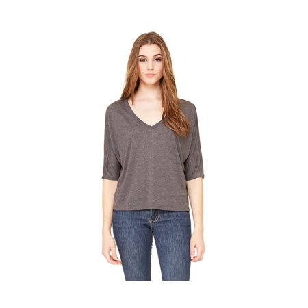 Dolman Crop - Bella Canvas Women's Flowy V-Neck Cropped T-Shirt, Style 8825