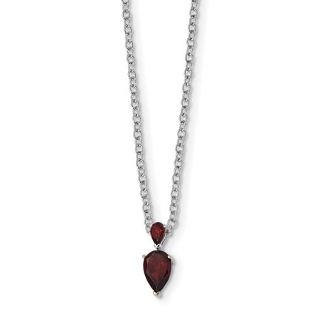 January Womens Necklace (925 Sterling Silver 14k Accent Red Garnet Chain Necklace Pendant Charm Gemstone Gifts For Women For)