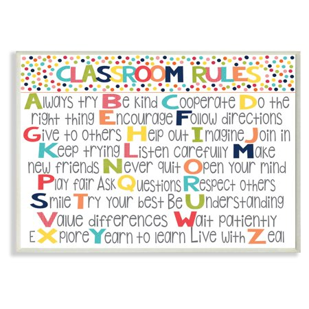 The Stupell Home Decor Collection Classroom Rules Wall Plaque Art