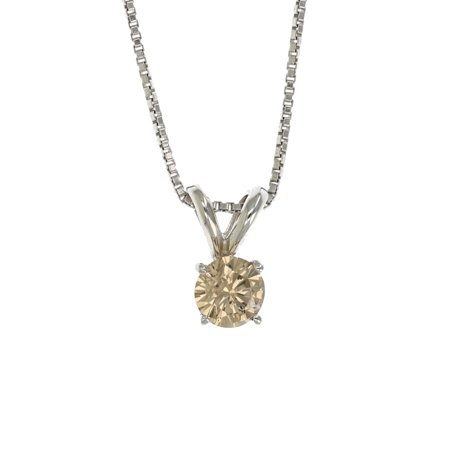 Vir Jewels 3/8 cttw Champagne Diamond Solitaire Pendant Necklace 14K White Gold