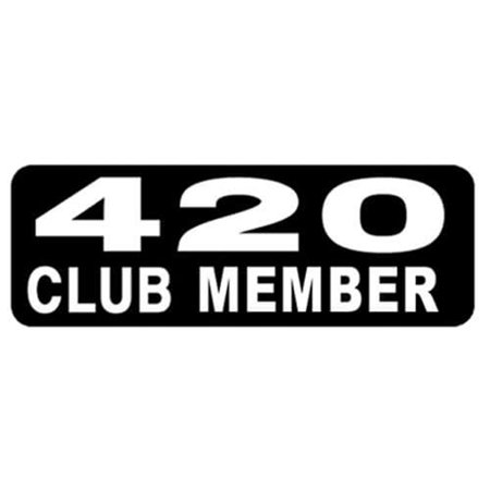 Motorcycle Helmet Stickers - 420 Club Member, Novelty Artwork Decals, 4
