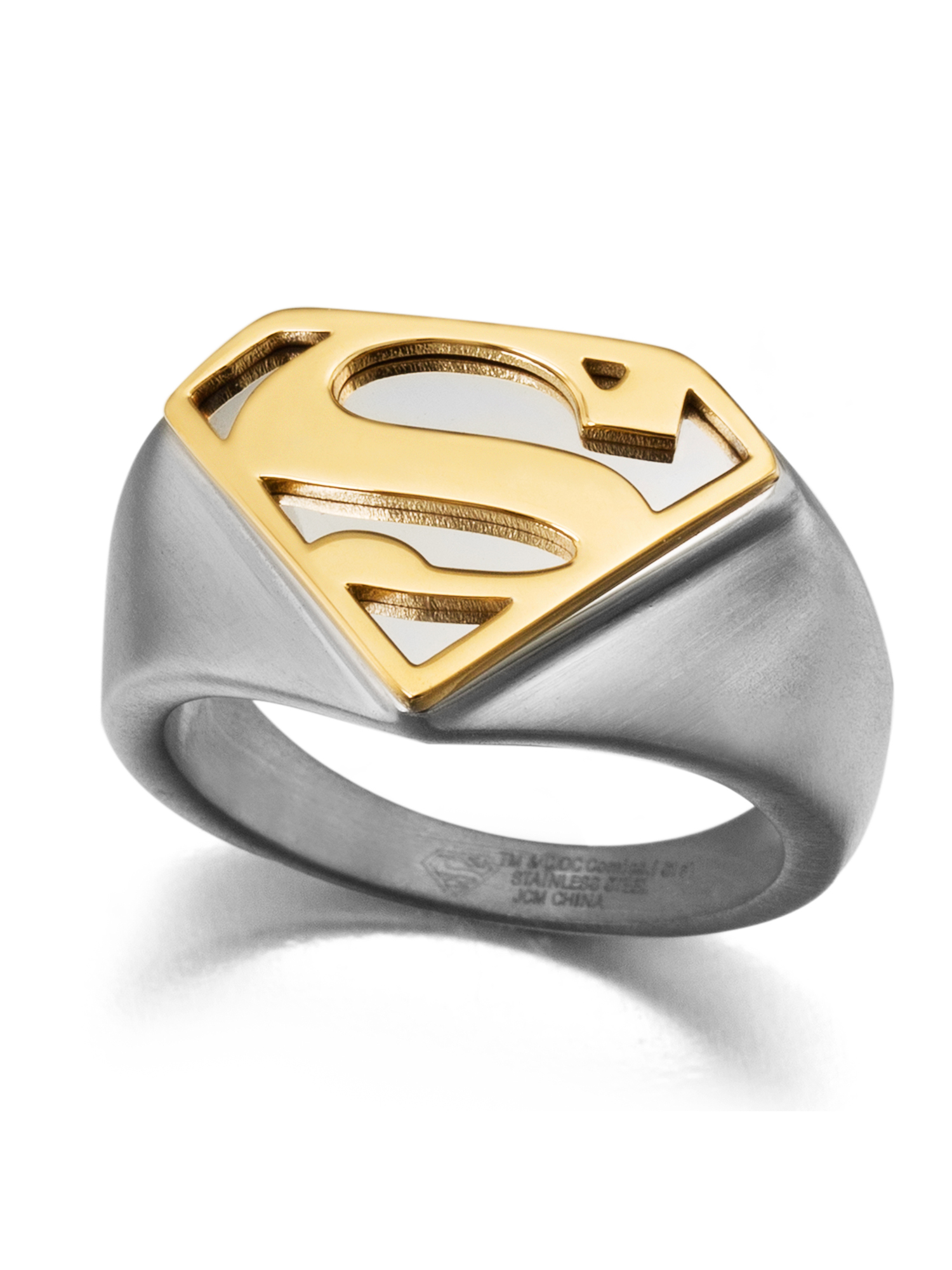 Stainless Steel Two-Toned Superman Ring - Walmart.com