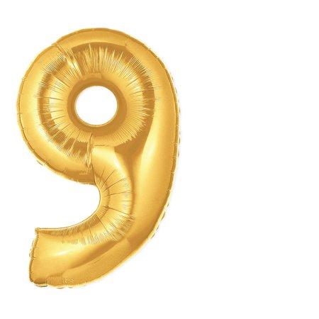 40-Inch Giant Gold Foil Balloons, Shiny Mylar, Number 9, Metallic - Metallic Mylar