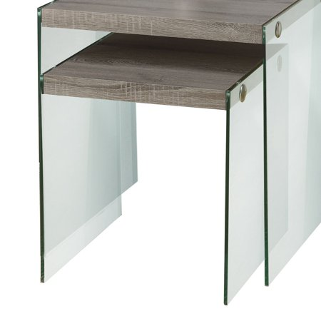 Monarch Nesting Table 2Pcs Set / Dark Taupe / Tempered Glass ()