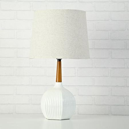 Urban Shop White Rabbit Ribbed Wooden Lamp- 20.5