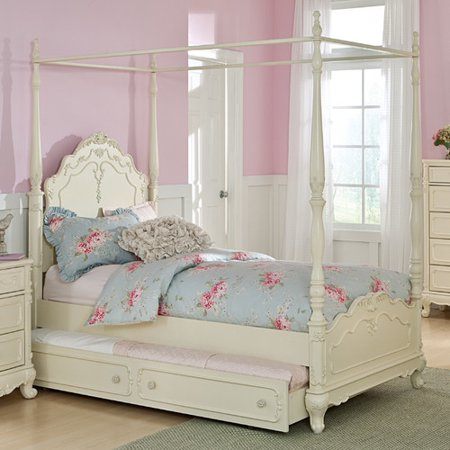 Home Tpp Cinderella Twin Canopy Poster Bed Antique White Product Photo