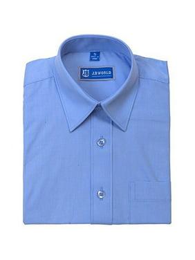 JB World Boys Light Blue Long Sleeve Button Front Uniform Dress Shirt