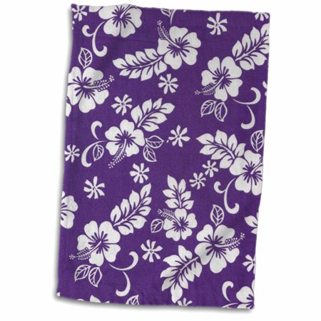 3dRose Purple background and Hibiscus flower pattern a great tropical addition for beach lovers - Towel, 15 by 22-inch (Blue Hibiscus Beach Towel)