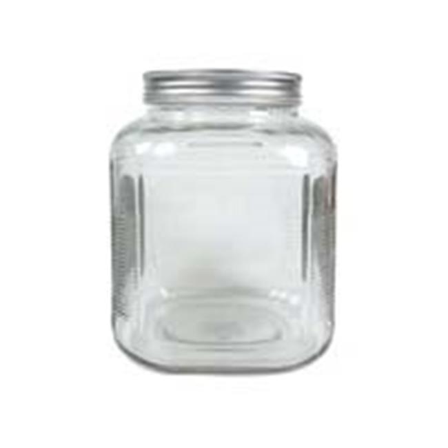 1 gallon Square Clear Wide-Mouth Jar with Lid 4 count 8548