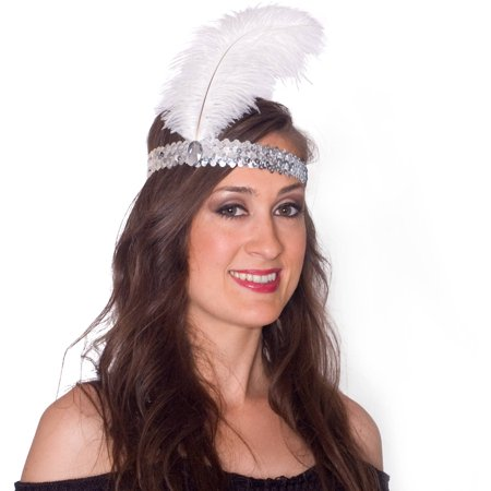 Sunnywood Silver Sequin Flapper Headpiece - Burlesque Headpiece