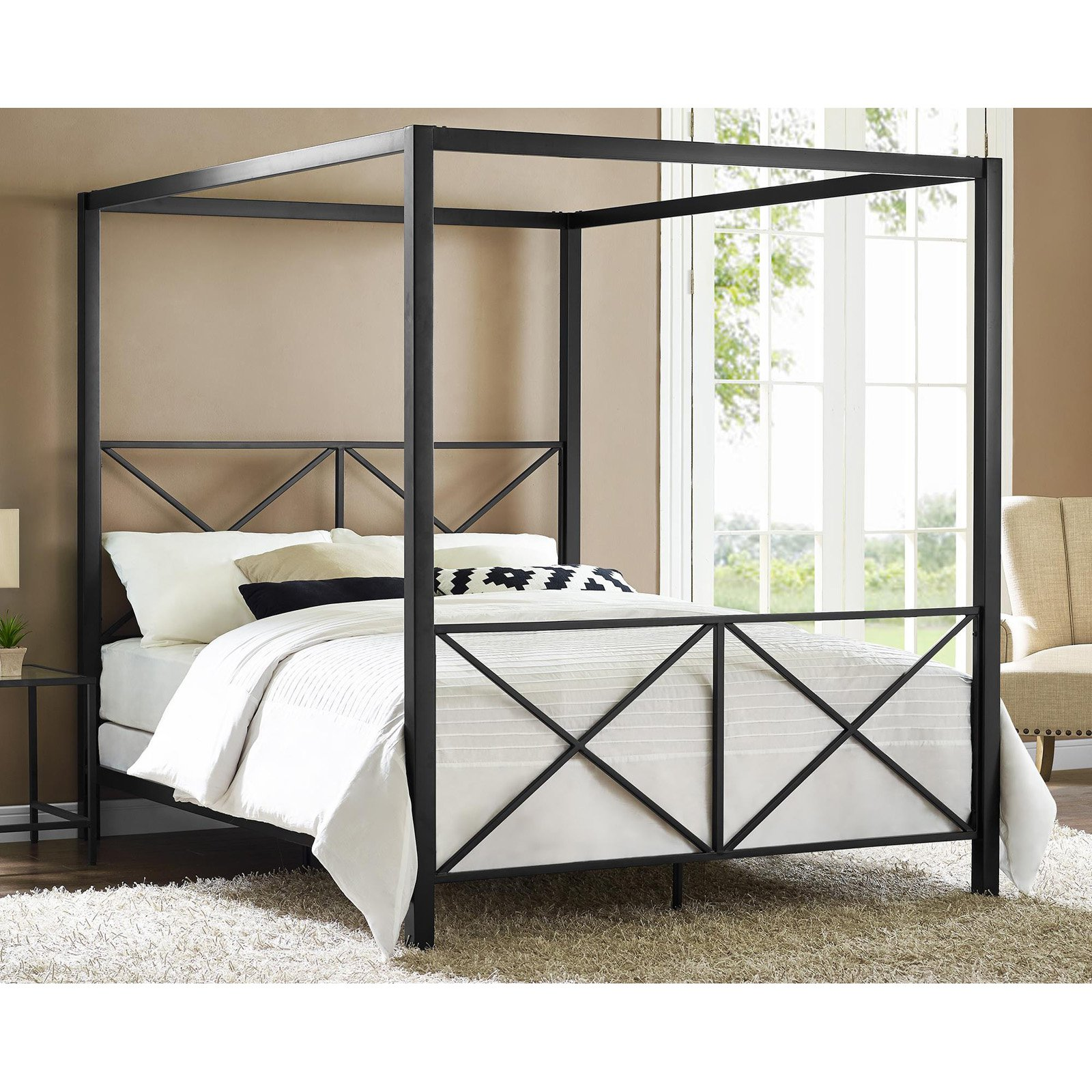 DHP Rosedale Metal Canopy Bed Frame Queen Size Multiple Colors