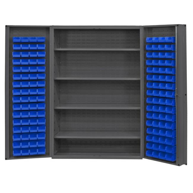 14 Gauge Deep Door Style Lockable Cabinet with 128 Blue Hook on Bins & 4 Adjustable Shelves, Gray -48 in.