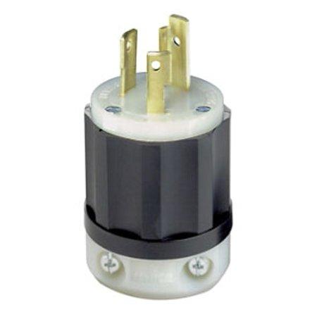Leviton 2621 30 Amp, 250 Volt, NEMA L6-30P, 2P, 3W, Locking Plug, Industrial Grade, Grounding - (Black 2p Plug)