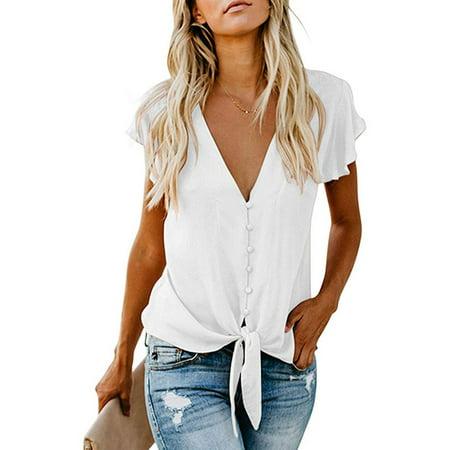 Women Chiffon V Neck T-Shirt Tie Front Short Sleeve Casual Tee Blouse Chiffon High Neck Top