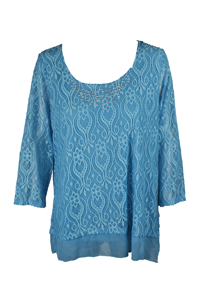 Jm Collection Plus Size Turquoise Embellished Lace Top 0X