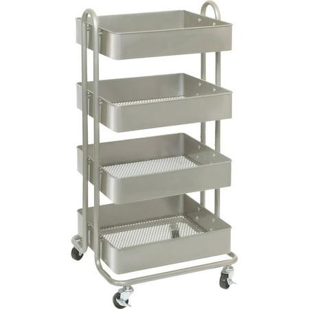 - Lorell, LLR45652, Storage Basket Cart, 1 Each, Champagne Gold