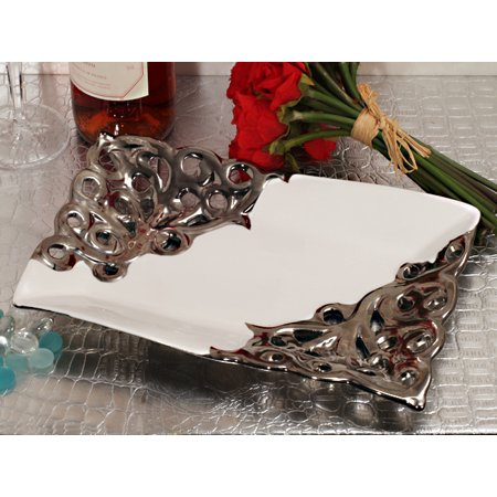 rectangular porcelain bowl accented with silver trim