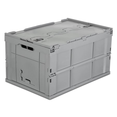 - Mount-It! Foldable Plastic Storage Box Tote with Attached Lid, 65L Liter Capacity (MI-908)