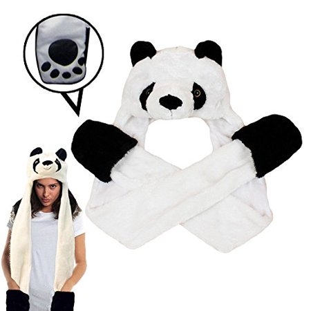 Dazzling Toys Plush Panda Hat with Long Paws Multi-functional Novelty Hoodie Cap