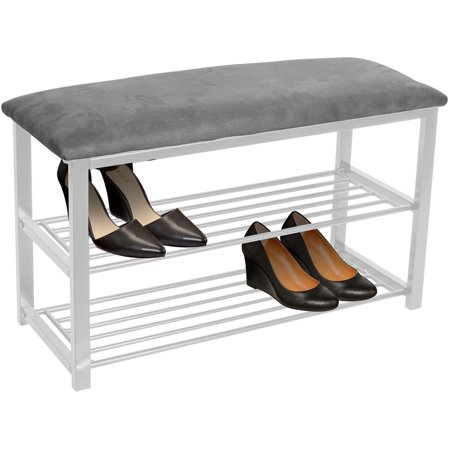 Sorbus Shoe Rack Bench – Shoes Racks Organizer – Perfect Bench Seat Storage for Hallway Entryway, Mudroom, Closet, Bedroom, etc (Gray/White) ()