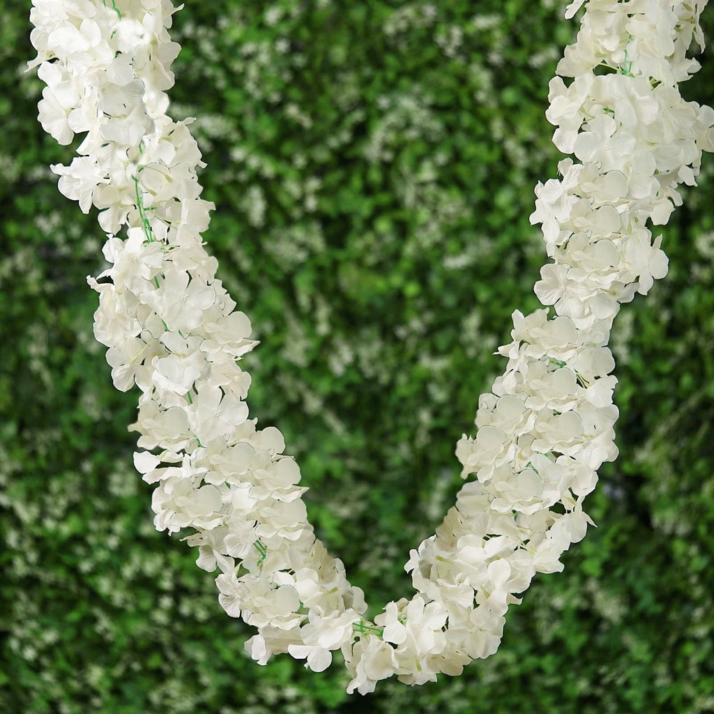 Efavormart 7 FT Cream Silk Hydrangea Artificial Flower Garland Wedding Decorative Flowers for DIY Wedding Bouquets Centerpieces