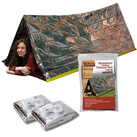 Emergency Thermal Tent- Reflective Mylar Survival Shelter- XL Size Waterproof Tube Tent Retains Heat and Fits 2 Adults in All Weather- 2
