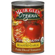 Muir Glen Fire Roasted Petite Diced Tomatoes With Roasted Garlic, 14.5 oz (Pack of 12)