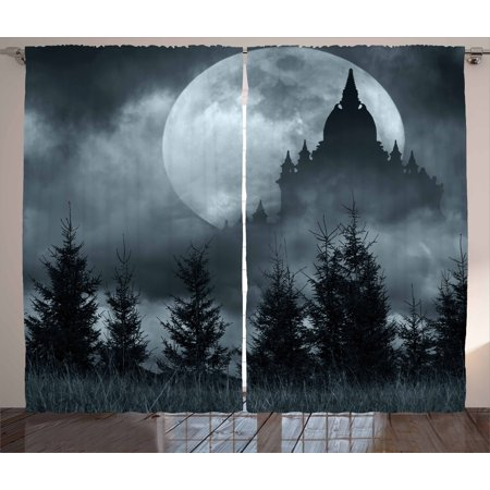 Halloween Curtains 2 Panels Set, Magic Castle Silhouette over Full Moon Night Fantasy Landscape Scary Forest, Window Drapes for Living Room Bedroom, 108W X 90L Inches, Grey Pale Grey, by Ambesonne