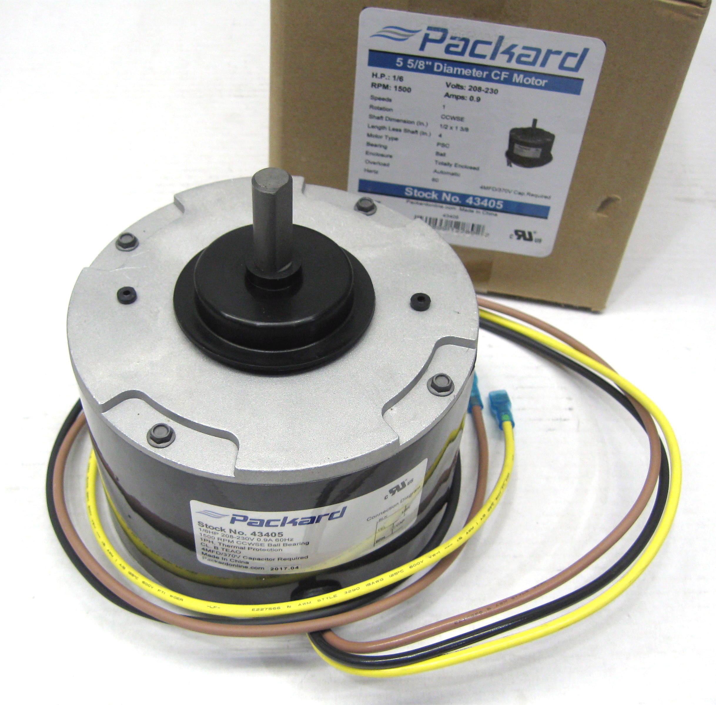 Packard Condenser Fan Motor 43405 For Carrier Hc33ge208 1 6hp 1500 Tcas Wiring Diagram Rpm 208 230 Volts