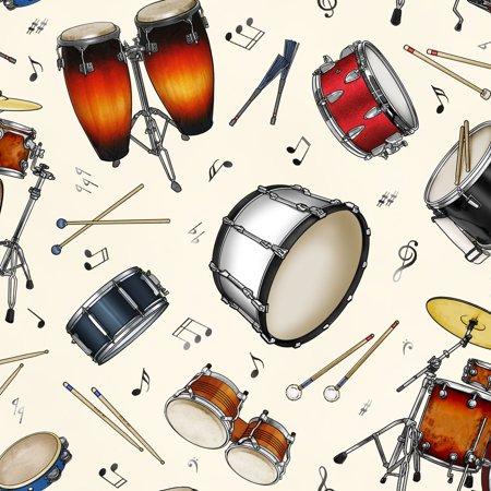 Jazz Cd - Jazz Music and Instruments Cotton Fabric by Elizabeth's Studio
