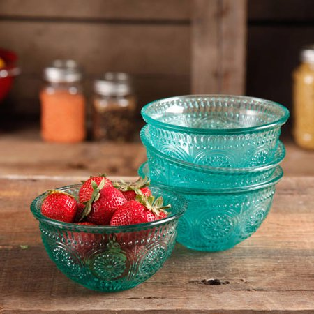 The Pioneer Woman Adeline 4 Piece 13 Oz Emboss Glass Bowl