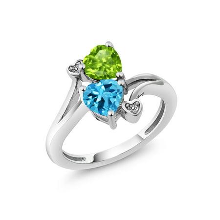 1.81 Ct Heart Shape Green Peridot Swiss Blue Topaz 925 Sterling Silver Ring