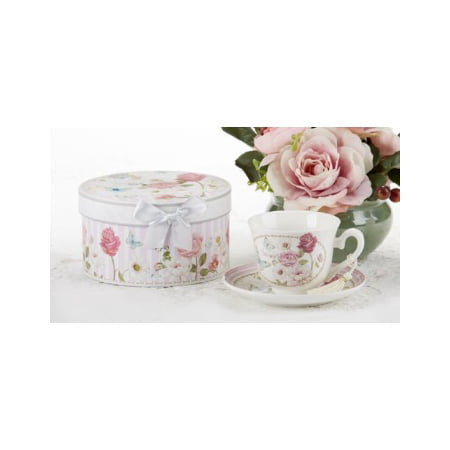 delton products pink grace pattern porcelain tea cup and saucer with gift box