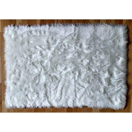 Faux Fur Sheepskin Shag Area Rug 3 X 5 White