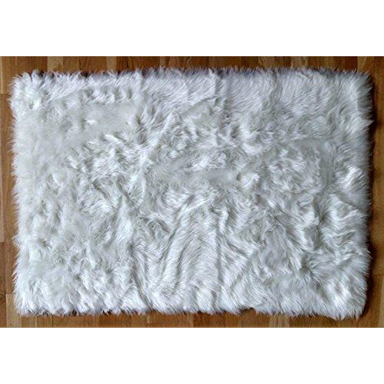 Faux Fur Sheepskin Shag Area Rug (3' X 5') (White