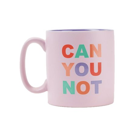 Can You Not Matte Stoneware Coffee Mug in Blush Pink with Colorful