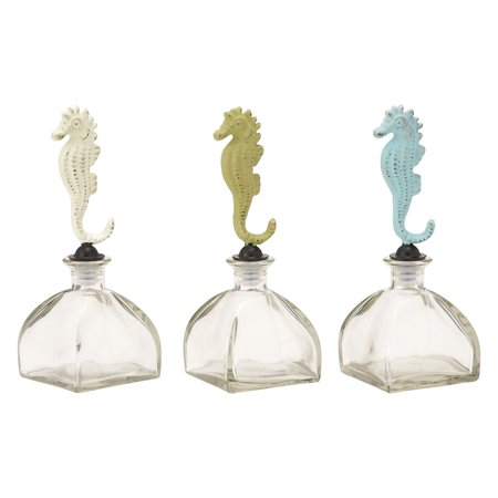 Glass Metal Stopper Bottle 3 Assorted