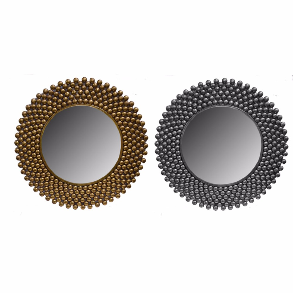 2 Assortments Of Decorative Metal Wall Mirror, Gold and Silver