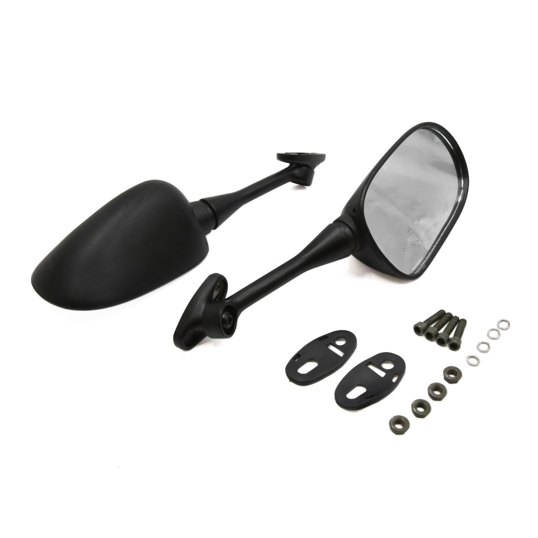 2pcs Black Motorcycle Motorbike Modified Rearview Reversing Reflective Mirrors - image 4 of 4