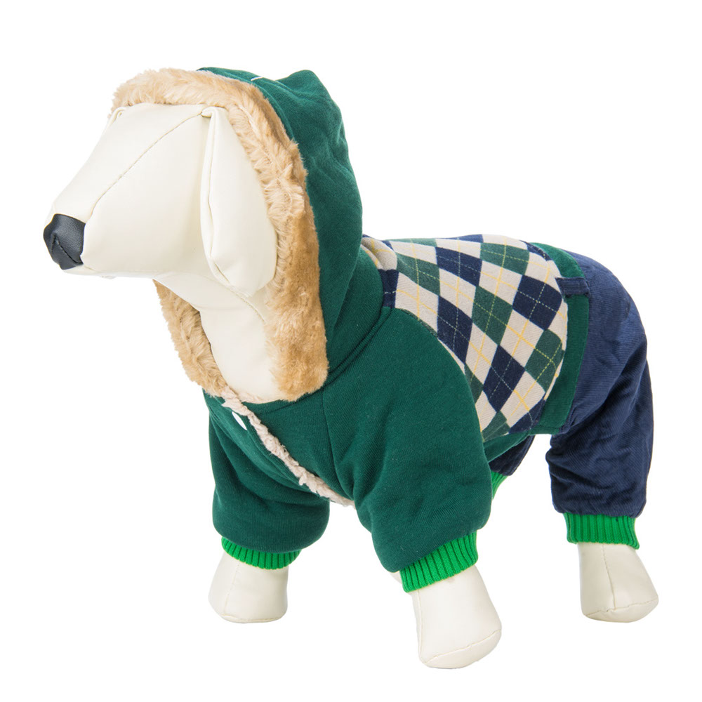CUECUEPET Hoodie Cotton Gender Neutral Jacket for Small to Medium Sized Dogs (Green / Blue Plaid) [Multiple Sizes Available]