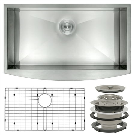 "Image of AKDY 33"" x 20"" x 9"" Stainless Steel Apron Farmhouse Handmade Kitchen Sink Dish Grid"