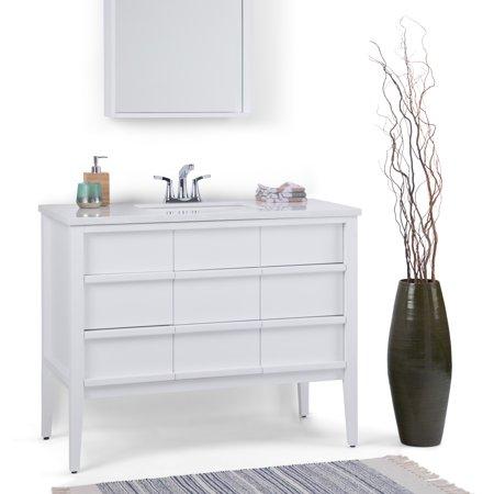 Brooklyn max tofino 42 inch bath vanity with white veined engineered marble top for Bathroom vanities brooklyn mcdonald avenue