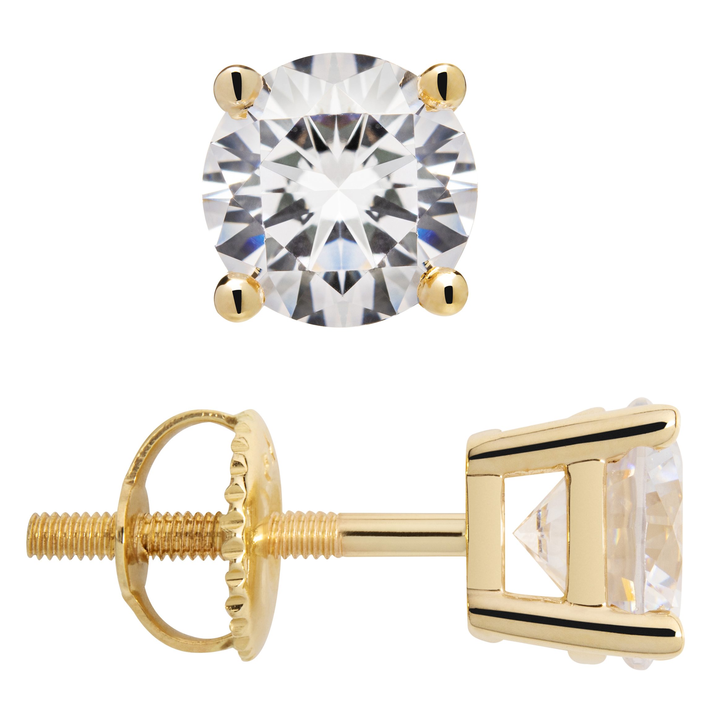 14K Solid White Gold Cubic Zirconia Round Screw Back Stud Earrings for Teens and Women Gift Kids
