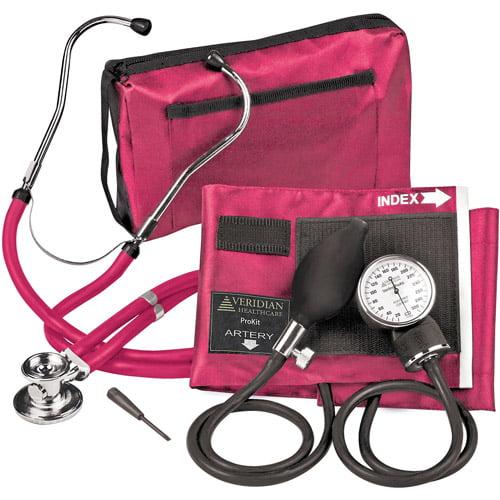 Veridian Healthcare Sterling ProKit Audult Aneroid Sphygmomanometer w/ Sprague Sthethoscope, Magenta